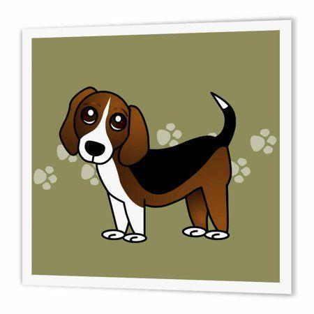 3drose Cute Beagle Cartoon Dog Green With Pawprints Iron On