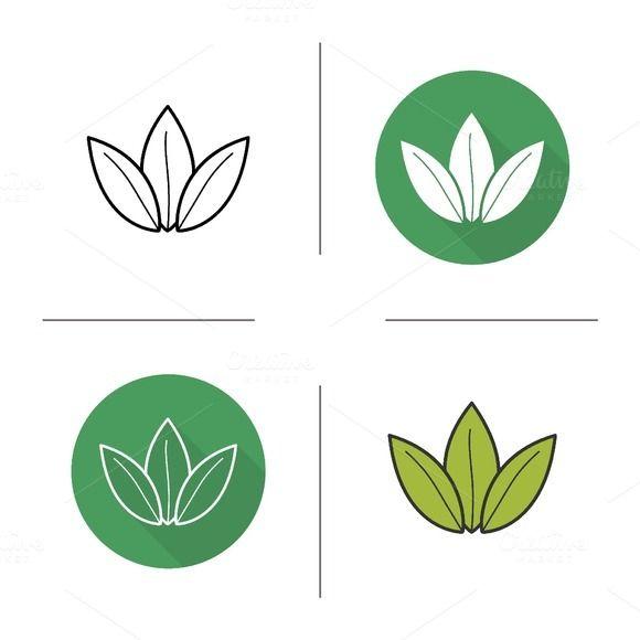 Green Tea Leaves Icons Vector Tea Leaves Illustration Tea Logo Tea Leaves
