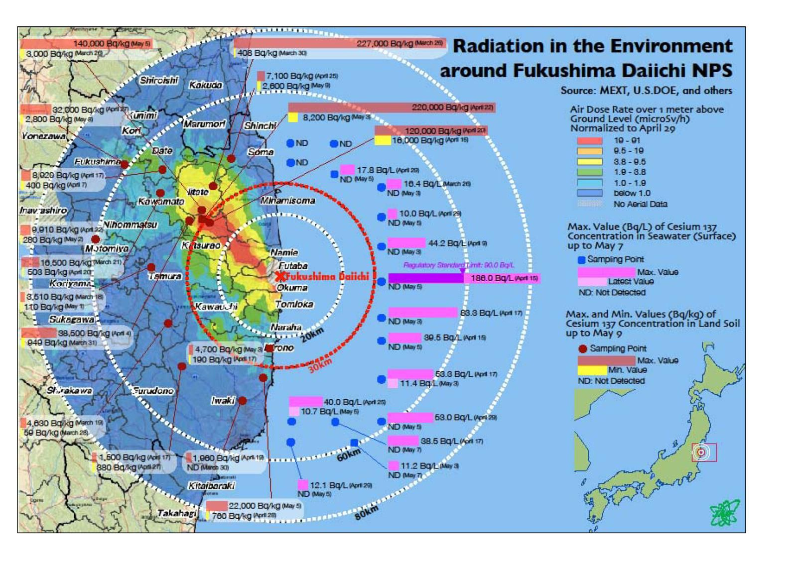 Environmental Impacts Of The Fukushima Nuclear Accident As Of - Japan radiation map 2014