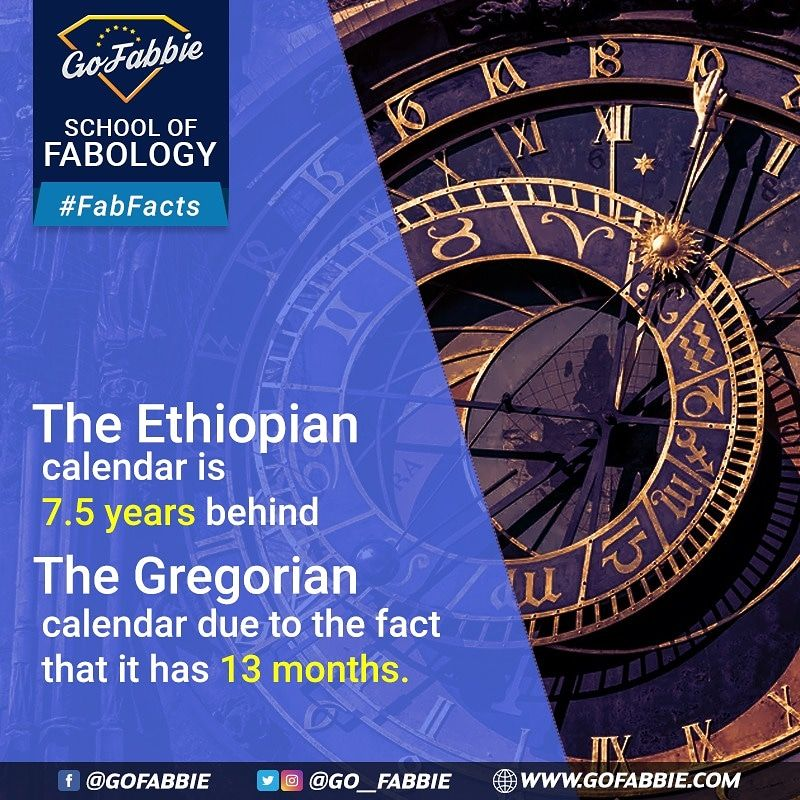 The Ethiopian Calendar Is 7 5 Years Behind The Gregorian Calendar