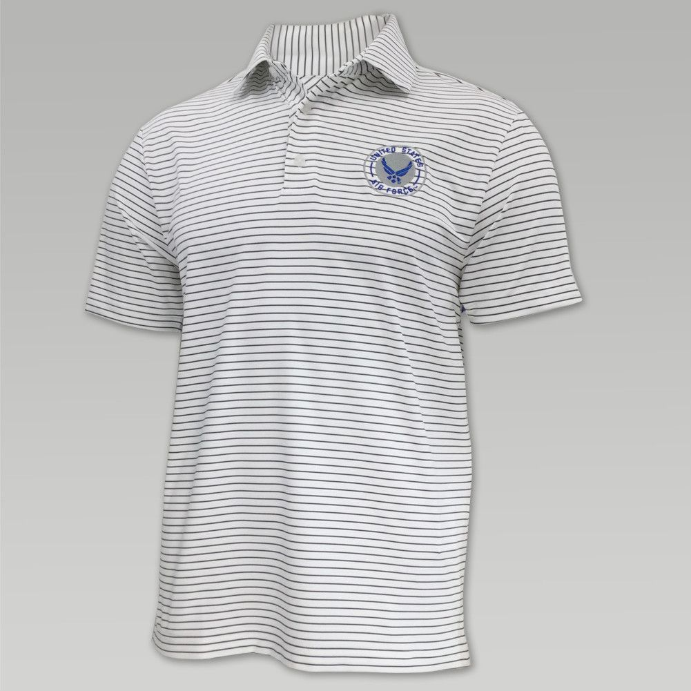 Air force under armour playoff stripe polo (white) Under
