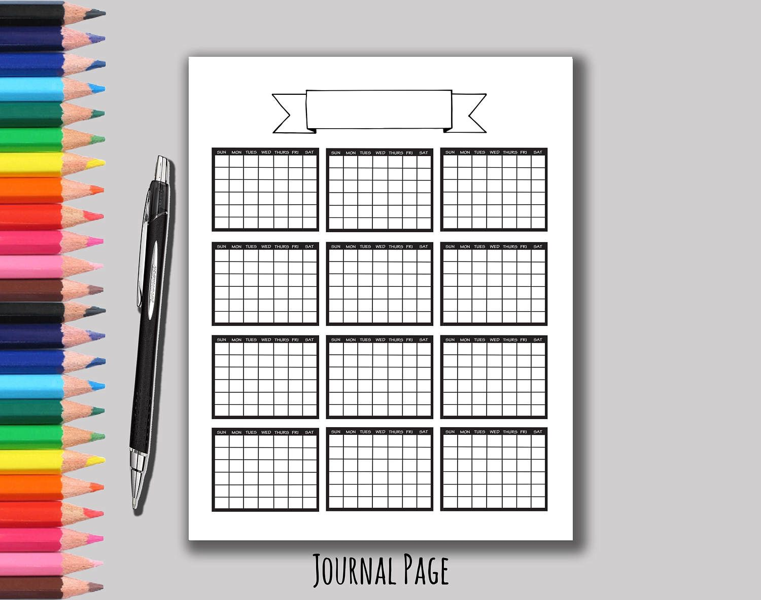 Yearly Calendar Printable Calendar Bullet Journal Bujo  Forms