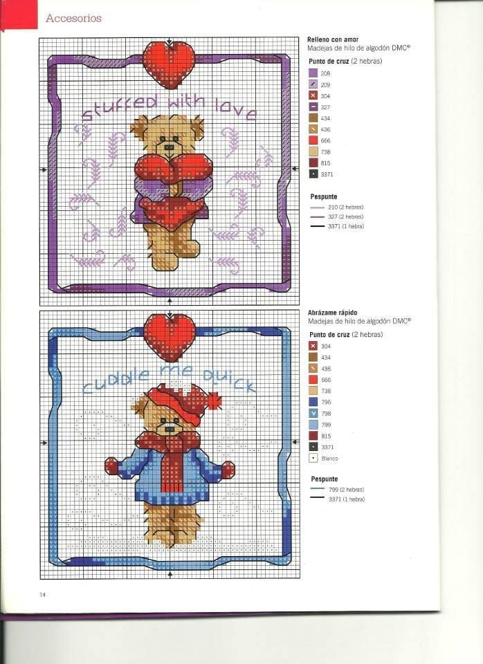 Cross-stitch Affectionate Teddy Bears, part 1...  purple and blue