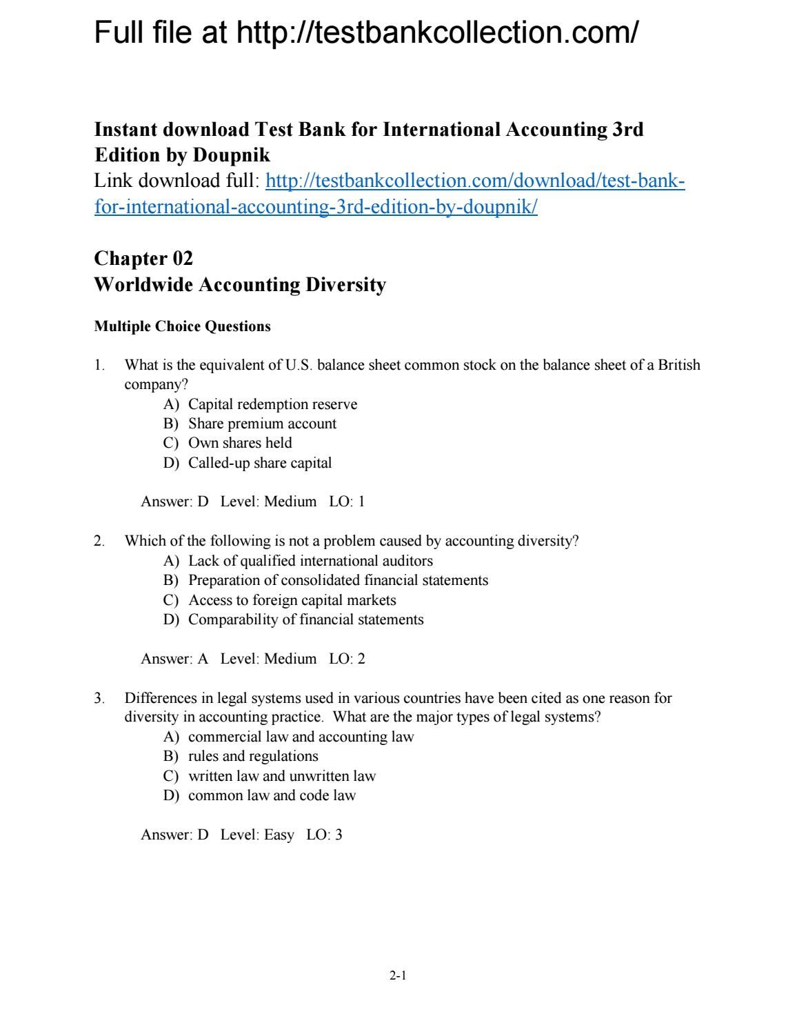 Test bank for international accounting 3rd edition by doupnik | Test