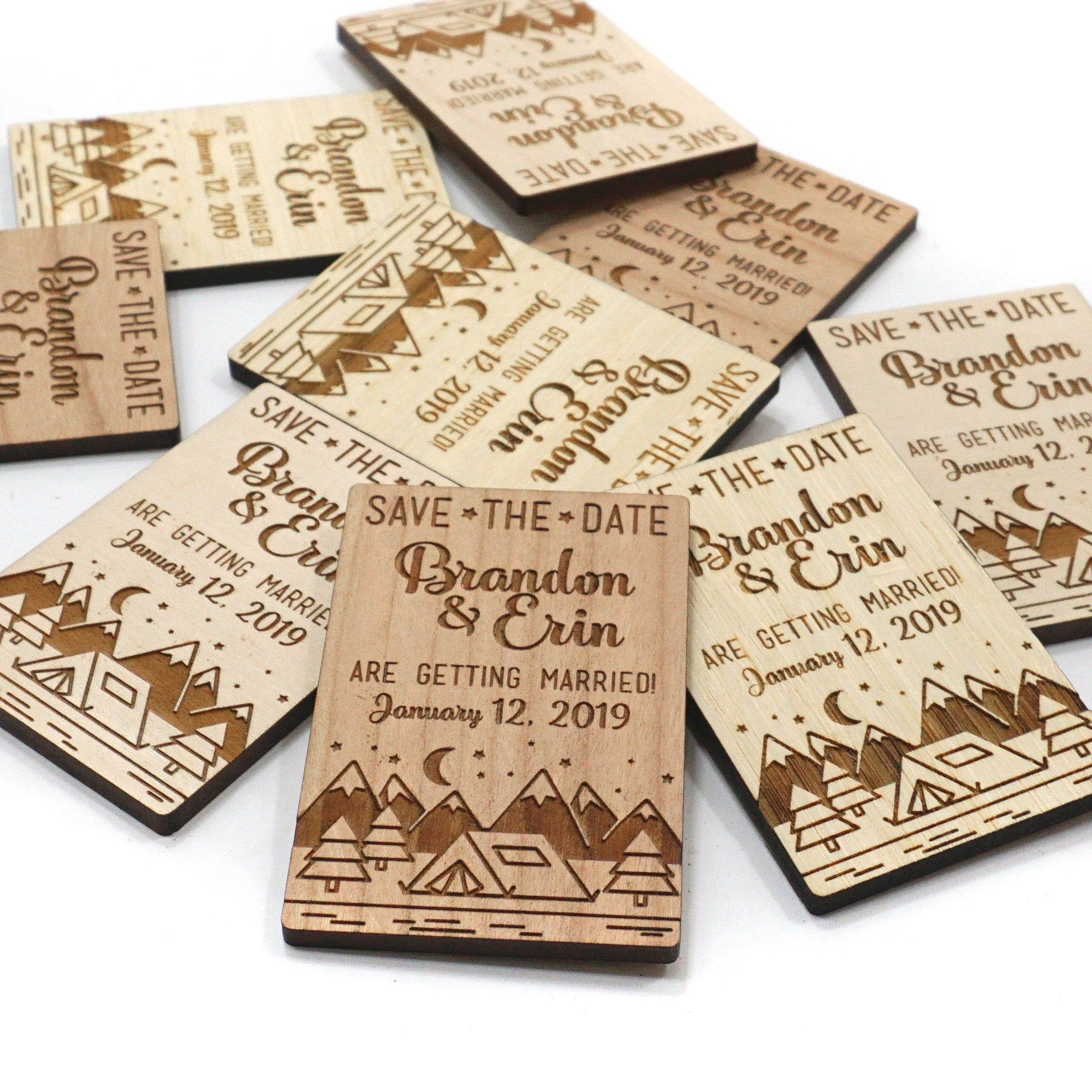 Wood Save the Date 2x3 inch Personalized Wedding
