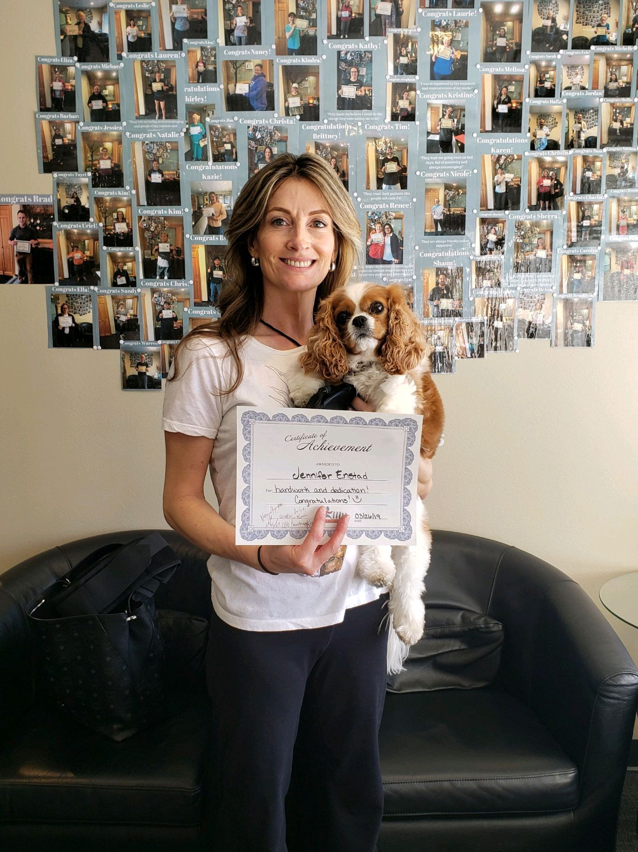 Another happy patient alongside an even happier puppy