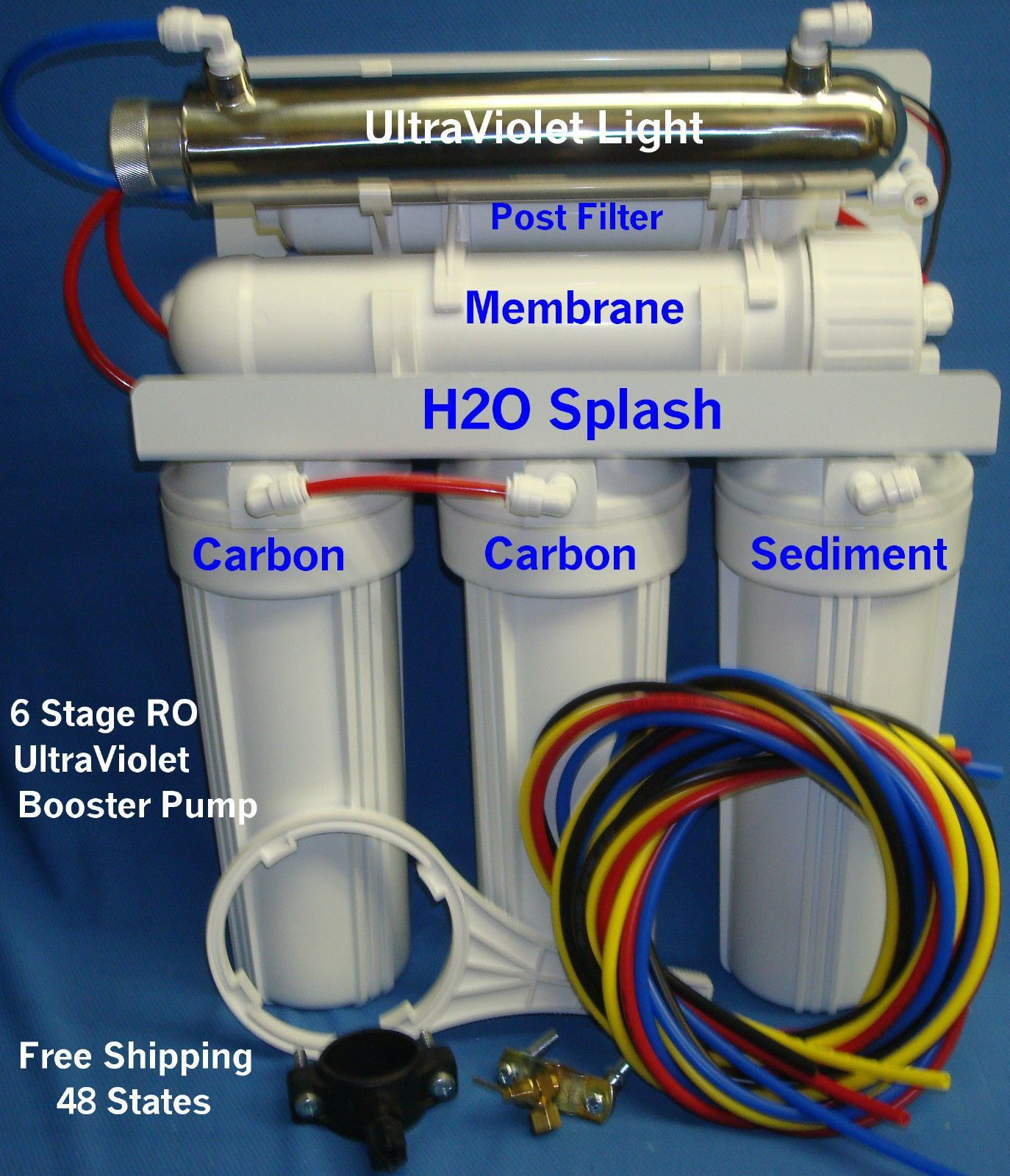 reverse osmosis system 6 stage 24 35 50gpd ro uv booster pump water