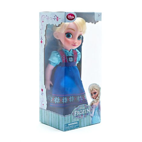 Elsa from Frozen Toddler Doll: funny! she is wearing annas dress!