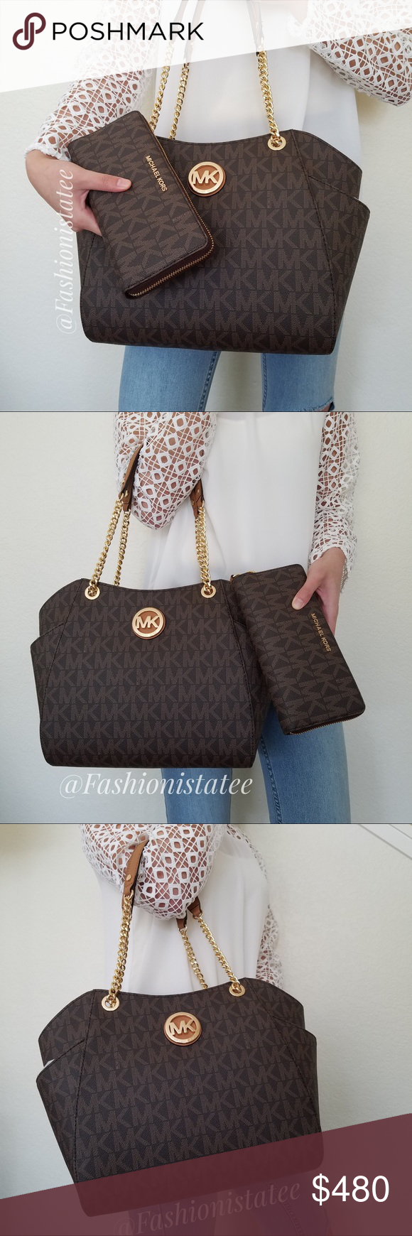 f71ade683c1 Spotted while shopping on Poshmark  NWT MICHAEL KORS JET SET LARGE TOTE SET  WALLET BAG!  poshmark  fashion  shopping  style  Michael Kors  Handbags
