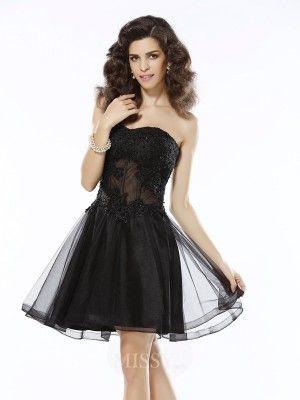 Corte en A Princesa Escote de Corazón Sin Mangas Corto Satén Apliques  Vestido - MissyDress 740e1d0368f9