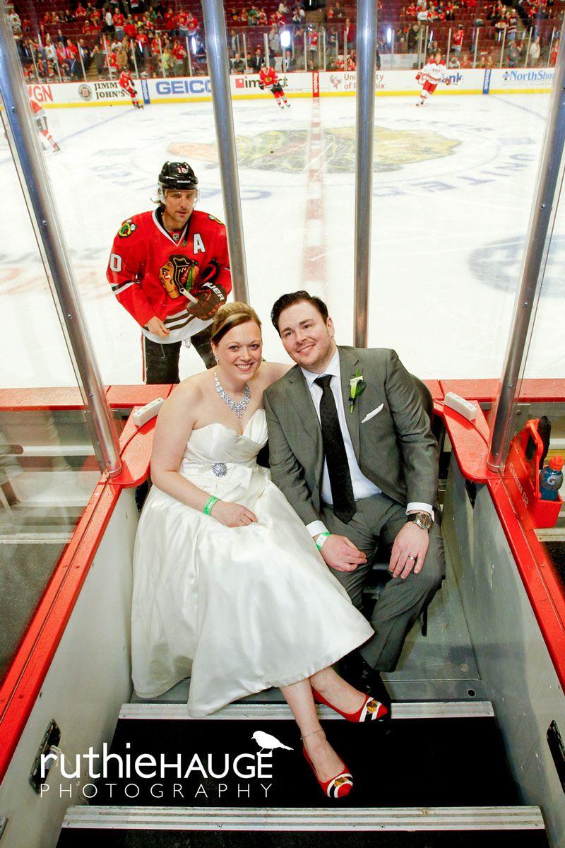 Sharp Photobombs Newlyweds During Warmups Blackhawks Hockey Wedding Chicago Blackhawks