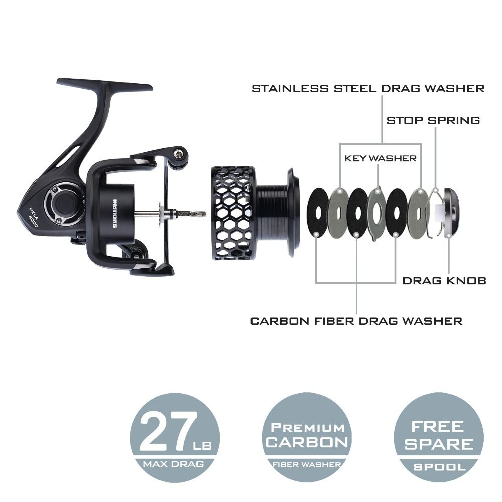 Kastking Mela Upgrading Carbon Fiber Drag Spinning Moulinet avec extra spool saltwat