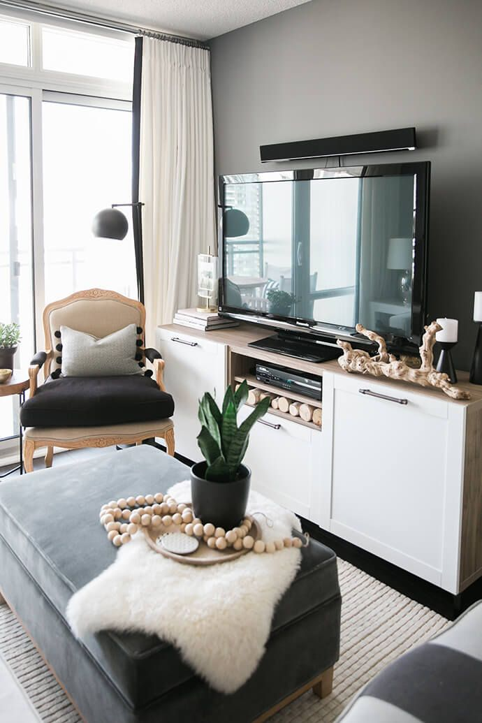 A Toronto Condo Packed With Stylish Small Space Solutions Condo Living Room Small Living Rooms Small Condo Decorating