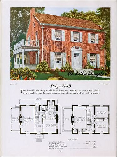 1920 National Plan Service Colonial House Plans Vintage House