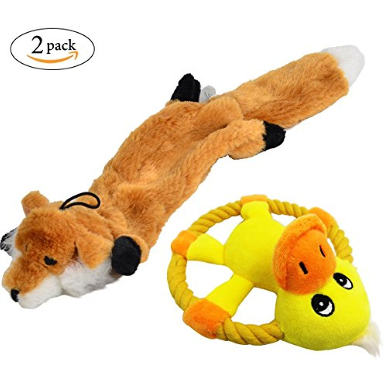 Squeaker Dog Chew Toys Skinneeez Stuffingless Fox Duck Frisbee