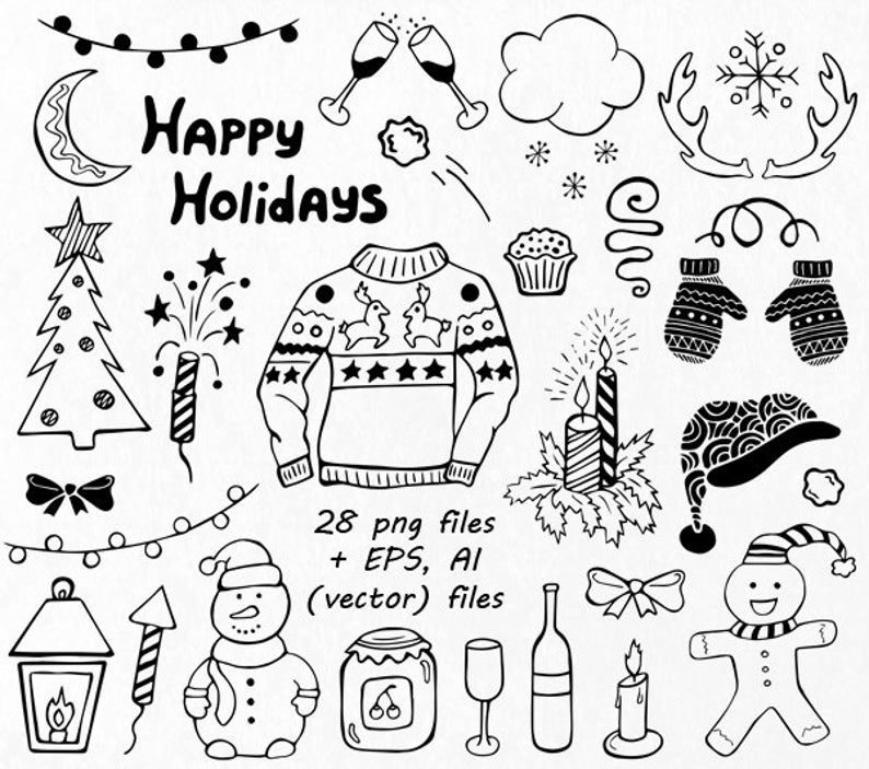 Christmas Doodles Clipart Christmas Doodles Doodle Clip Art Etsy Christmas Doodles Doodles Doodle Art For Beginners