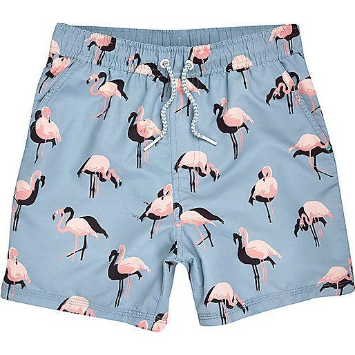 b6ea620050574 Boys aqua flamingo print swim shorts - Swim Shorts - boys ...