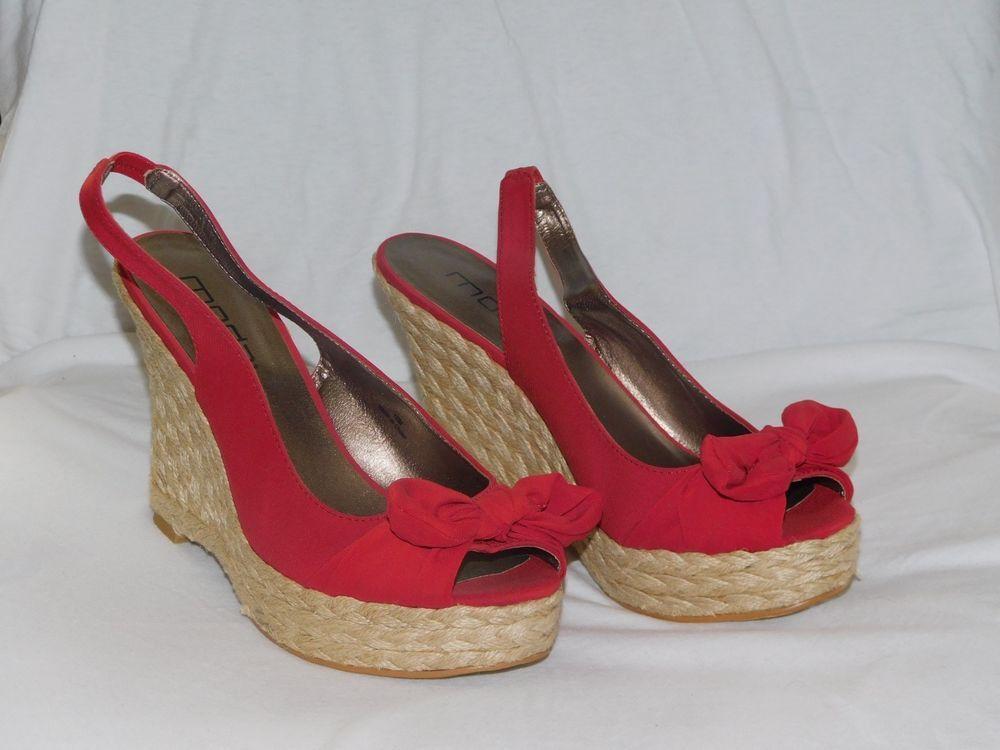 Moda Women's Red Wedge Heel Size 10