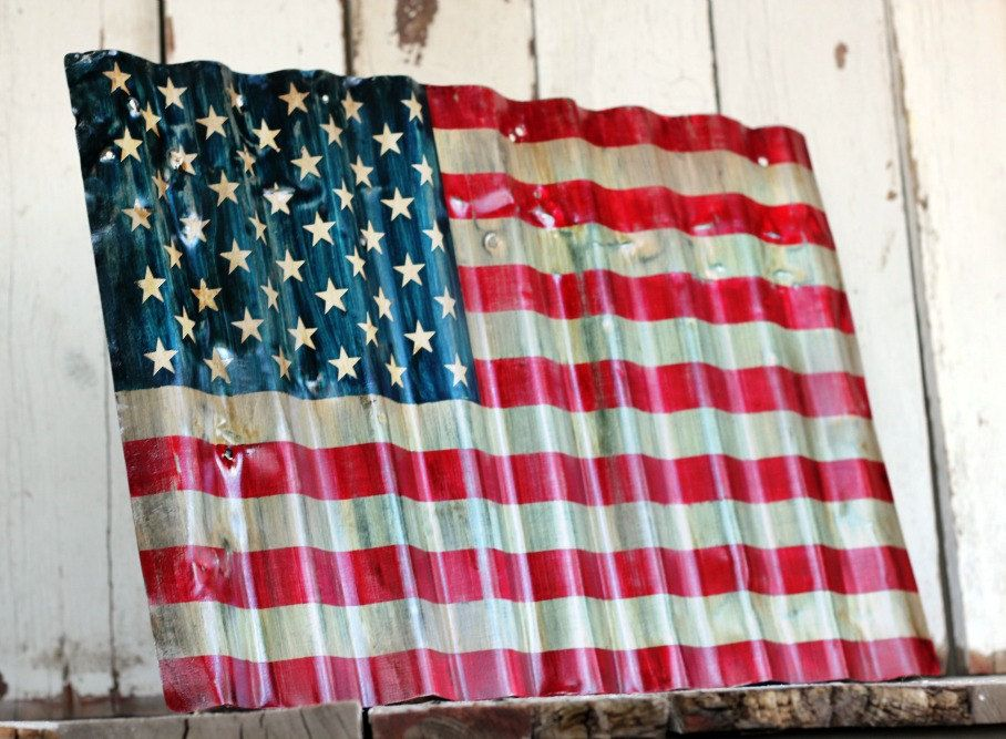 american flag reclaimed painted and distressed metal sign industrial rustic home - Metal Signs Home Decor