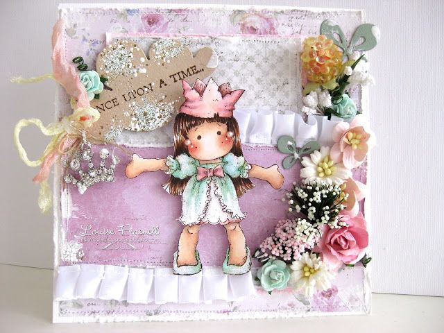 Tilda card by LLC DT Member Louise Fraenell, using papers from Maja Design's Sofiero collection.