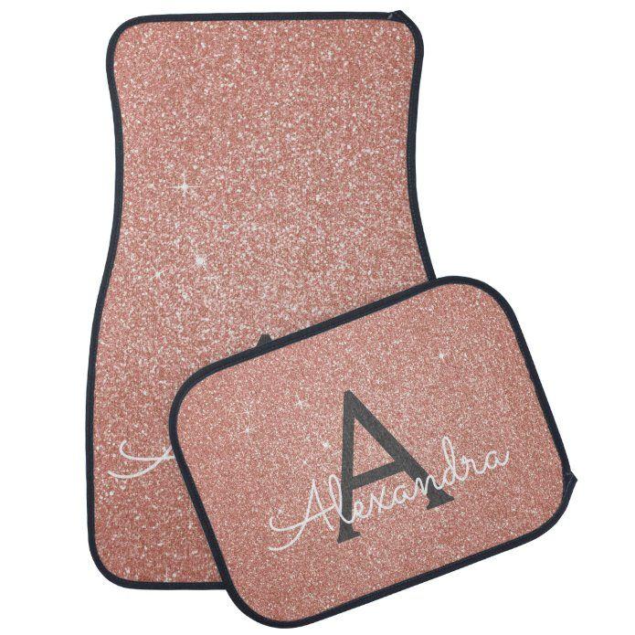 Photo of Rose Gold Pink Glitter Sparkle Monogram Car Floor Mat