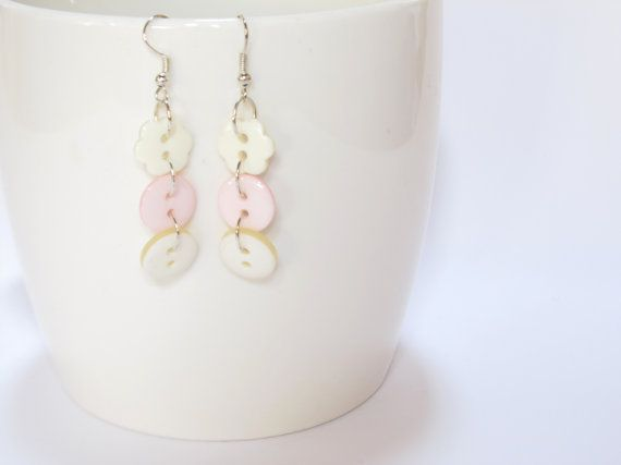 Pink White Cream Button Earrings, Flower Button Earrings, Dangle Button Earrings, Gift for Her