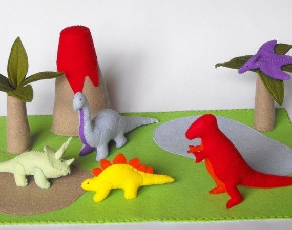 Felt Dinosaur Play Mat Tote Pdf Pattern Tyrannosaurus Stegosaurus Pterodactyl Brontosaurus Triceratops Volcano Pal Felt Play Mat Dinosaur Play Felt Toys