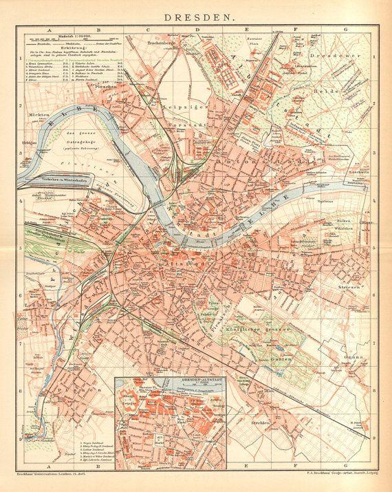 1894 Original Antique City Map Of Dresden Dresden Stadtplan Landkarte Dresden