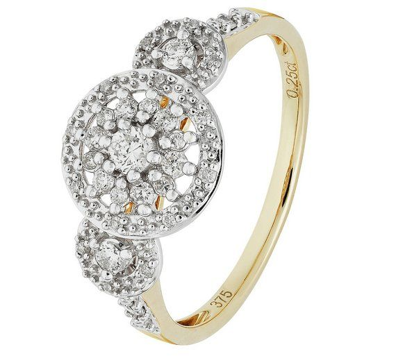 Buy 9ct Gold 0 25ct tw Diamond Star Halo Ring at Argos