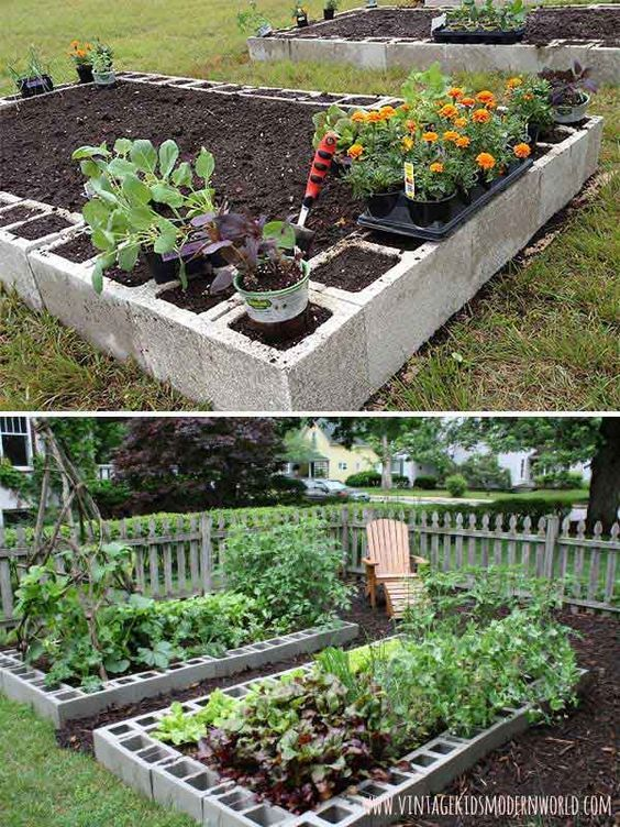 11 concrete blocks are the perfect materials to organize an easy and cheap vegetable growing