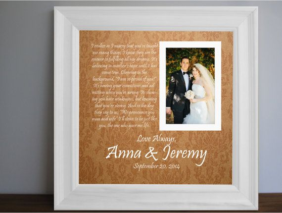 Parents Wedding frame - Thank you parent gift - Custom Picture Frame ...