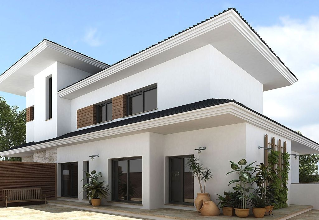 architectures:luxury asian home design white wall black rooftop