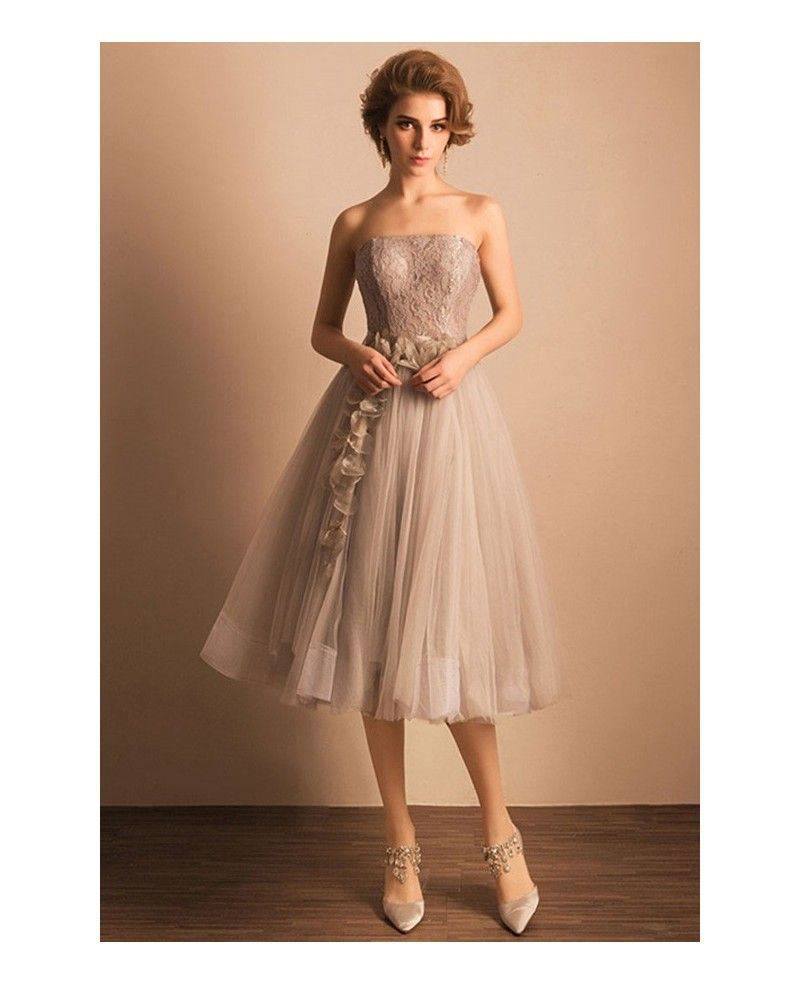 Wedding dresses with beading  Retro Tea Length Wedding Dresses Tulle Strapless A Line Style With