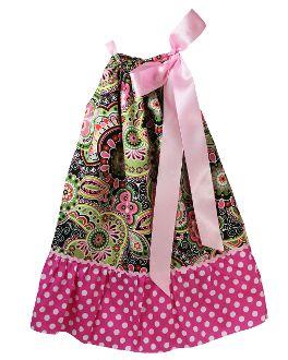Multi Color Floral Paisley Print and Dots Pillowcase Dress