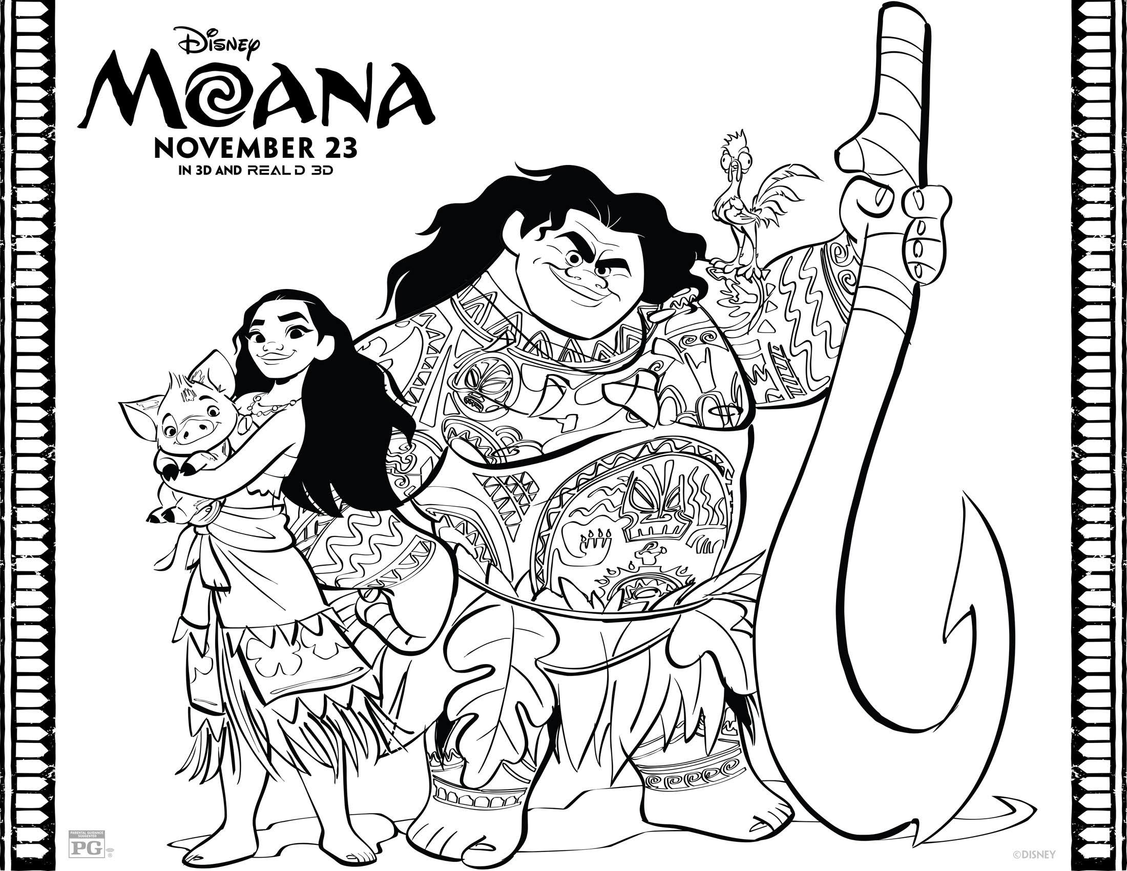 Free Disney Printables And Activity Pages Moana Coloring Free