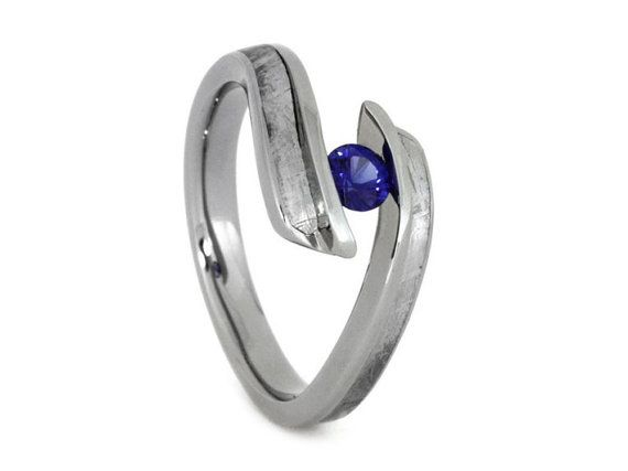 Blue Sapphire Engagement Ring Meteorite Wedding For Women With A Tension Set Gemstone
