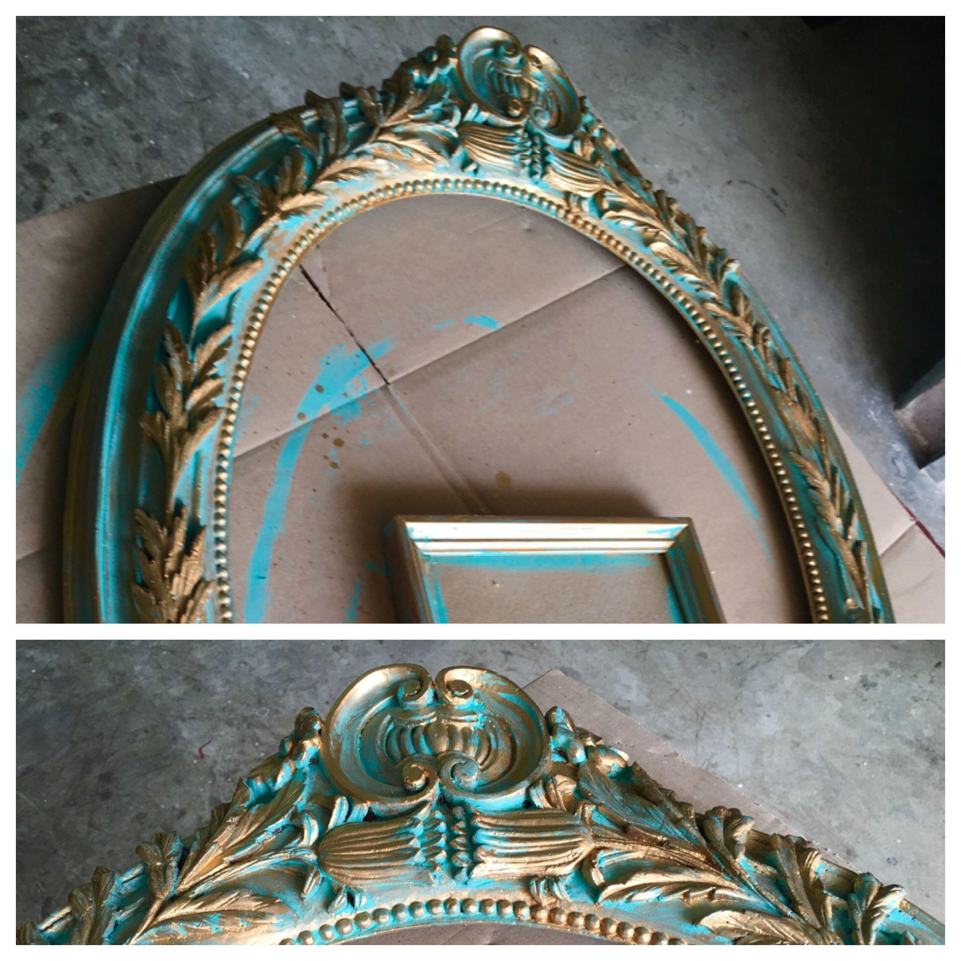 Pintando Con Azul Turquesa Y Dorado En Reciclandoenelatico  # Muebles Lissette