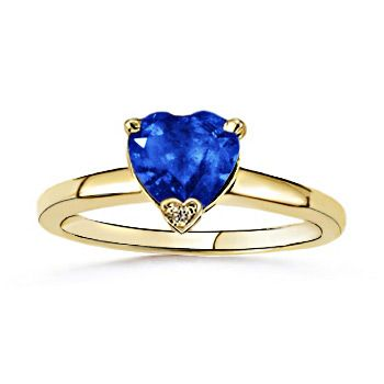 Angara Blue Sapphire Heart Ring in Yellow Gold 5ViL4n