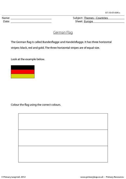 colour the german flag correctly geography worksheets. Black Bedroom Furniture Sets. Home Design Ideas