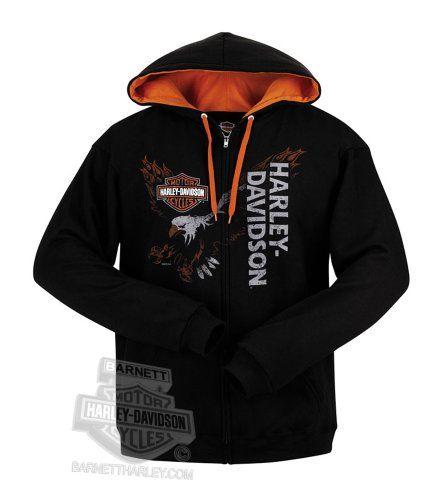 Harley-Davidson Mens Distressed Letters Full Zip Black Jacket w// Contrast Hoodie