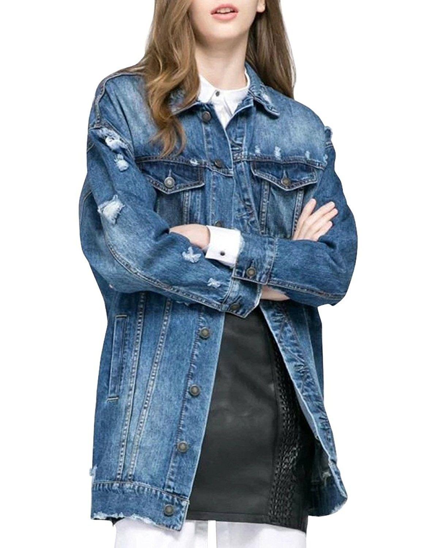 Women S Loose Fit Long Jean Jacket Ripped Broken Denim Coat Blue C312o4725rs Denim Coat Denim Coat Jacket Denim Jacket [ 1500 x 1155 Pixel ]