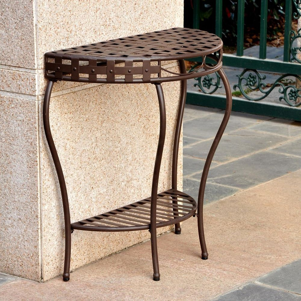 Table Outdoor Half Moon Wrought Iron Patio Console 2 Tier Basket Weave Design Curved Table Wrought Iron Outdoor Furniture Metal Side Table