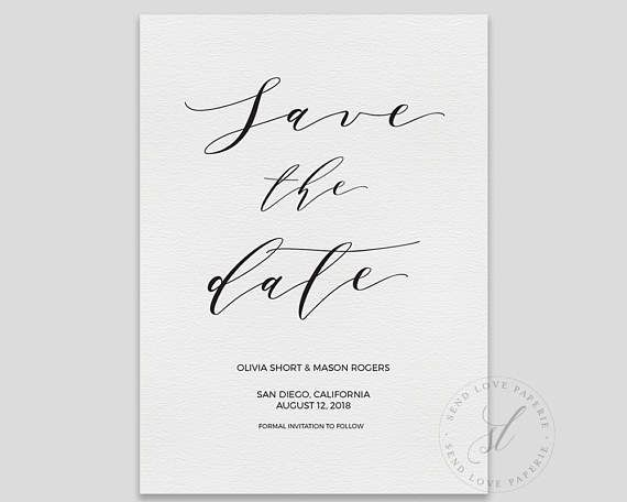 Calligraphy Save the Date, Rustic Save the Date, Save the Date - Formal Invitation Letters