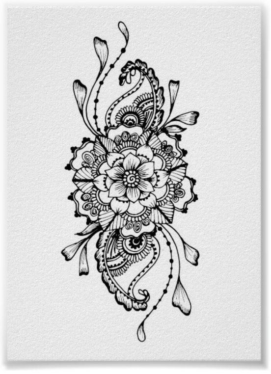 mandala henna tattoo handgemachte aquarell print von. Black Bedroom Furniture Sets. Home Design Ideas