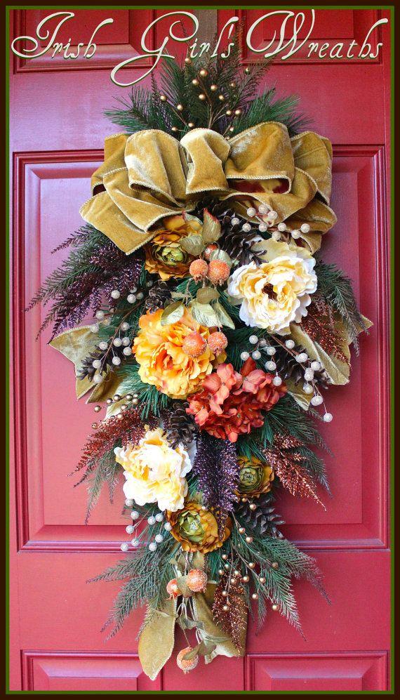 Rustic Fall Winter Floral Door Swag Velvet Ivory Cream Gold