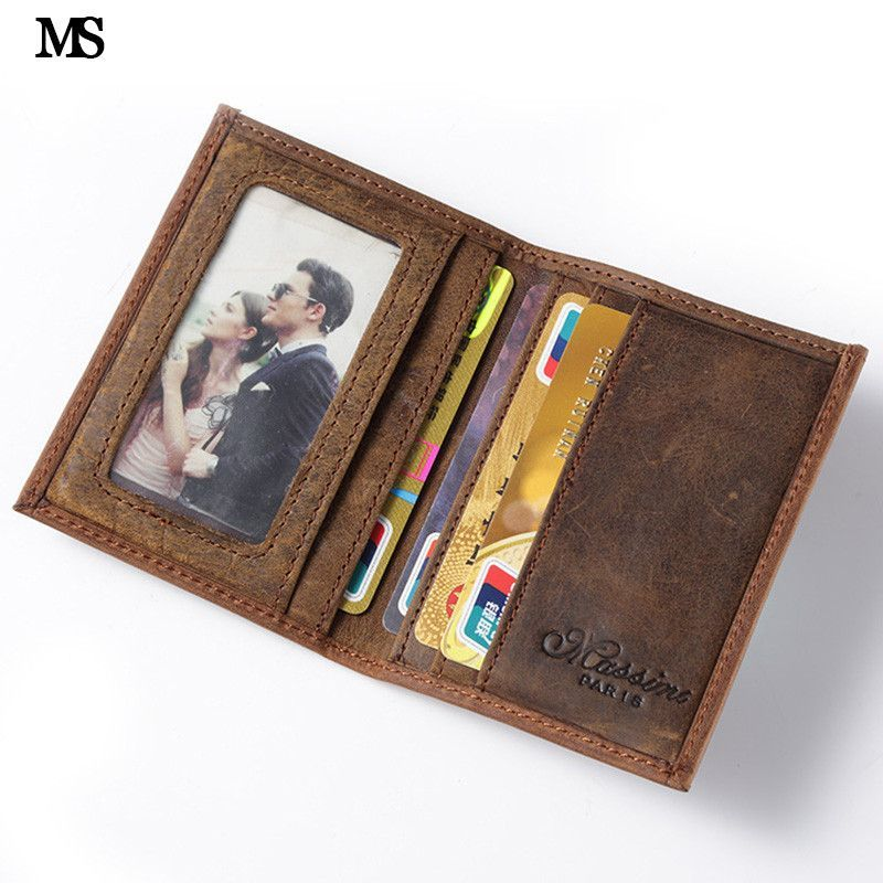 MS Hot Sell Men Crazy Horse Genuine Leather Slim Wallet Business ...