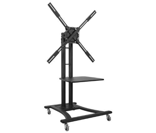Atdec TH-TVCB Mobile TV Cart with MDF Media Shelf for Displays up to 110-Pound, Black. Mobile TV Cart Supports displays weighing up to 110lbs or 50kg. VESA mounting hole width of up to 800mm. Includes MDF shelf with 3 height positions available; shelf Supports 5kg. Height adjustment range: 700mm or 27.5″; Internal cable management. All mounting hardware included; 10 year warranty.