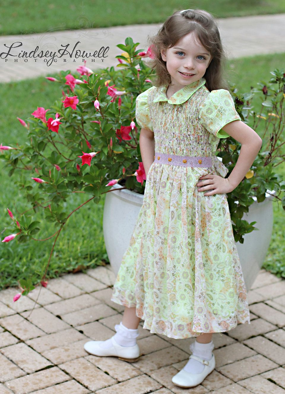 Paisley smocked #dress, The #green fabric underneath highlights its #colors. Defi,  View more on the LINK: http://www.zeppy.io/product/gb/3/175393629/