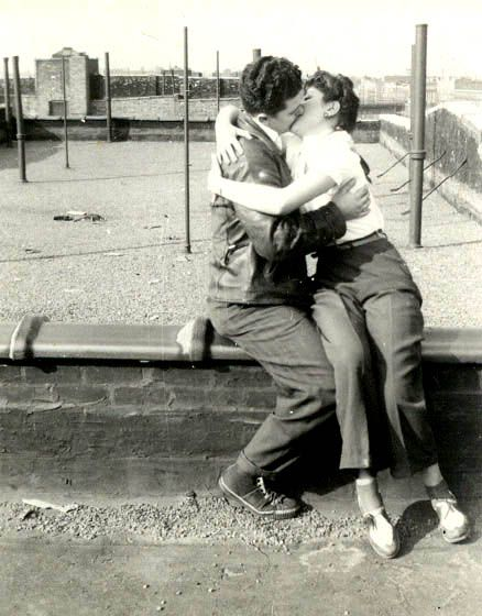 On a roof in Brownsville, Brooklyn circa 1941 my mother and father kissed. Photo from tomswift46 at flickr