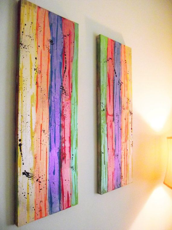 Swell Abstract Wall Art Rainbow Red Orange Yellow Green By Home Interior And Landscaping Staixmapetitesourisinfo